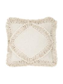 Federa arredo boho con frange Kaheka, 100% cotone, Ecru, Larg. 45 x Lung. 45 cm