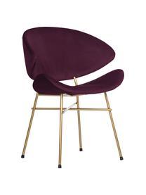 Krzesło tapicerowane z weluru Cheri, Tapicerka: 100% poliester (welur), Stelaż: stal malowana proszkowo, Purpurowy, odcienie mosiądzu, S 57 x G 55 cm