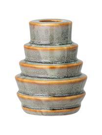 Ręcznie wykonany świecznik Jory, Kamionka, Zielony, brązowy, Ø 7 x W 9 cm