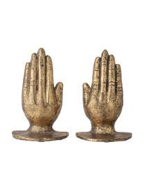 Set 2 oggetti decorativi Bookend, Metallo, Dorato con  finitura antica, Larg. 15 x Alt. 18 cm