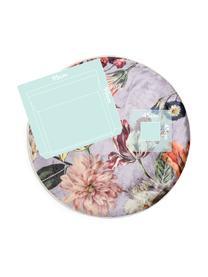 Rond vloerkleed Filou met bloemmotief, 60% polyester, 30% thermoplastisch polyurethaan, 10% katoen, Lila, multicolour, Ø 180 cm (maat L)