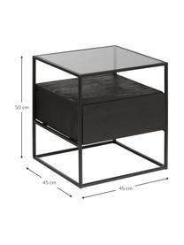 Nachttisch Theodor mit Schublade, Tischplatte: Glas, Gestell: Metall, pulverbeschichtet, Schwarz, 45 x 50 cm
