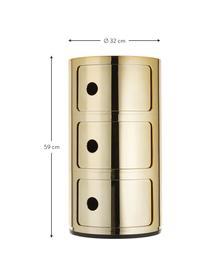 Comodino di design con cassetti Componibile, Materiale sintetico, rivestito in metallo, Dorato, Ø 32 x Alt. 59 cm