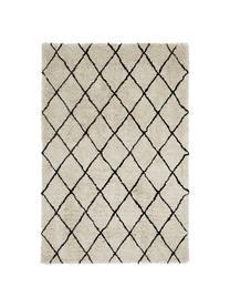 Tappeto soffice a pelo lungo taftato a mano Naima, Retro: 100% cotone, Beige, nero, Larg. 300 x Lung. 400 cm (taglia XL)