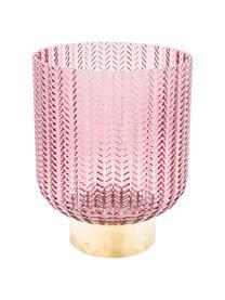 Vaso con base in ottone Barfly, Vaso: vetro tinto, Rosa trasparente, Ø 17 x Alt. 24 cm