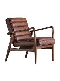 Leren loungefauteuil Datsun, Bekleding: korrelig leer, Frame: essenhout, Bruin, 70 x 74 cm