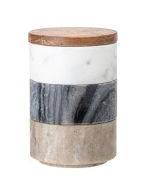 Kleine Aufbewahrungsdosen Gatherings aus Marmor Ø 8 x H 12 cm, 3er-Set, Dosen: Marmor, Deckel: Akazienholz, Braun, Grau, Weiß, marmoriert, Ø 8 x H 12 cm