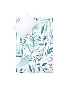 Parure copripiumino reversibile in percalle Francine, Tessuto: percalle, Fronte: verde, bianco Retro: bianco, 200 x 200 cm