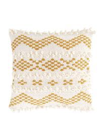 Federa arredo boho con ornamenti decorativi Paco, 80% cotone, 20% lana, Bianco, giallo, Larg. 45 x Lung. 45 cm