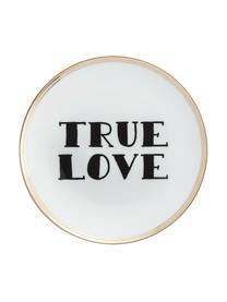 Talerz śniadaniowy z porcelany True Love, Porcelana, Biały, czarny, odcienie złotego, Ø 17 cm
