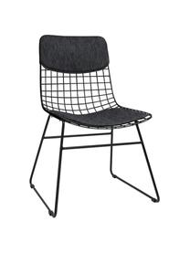 Sitzauflagen-Set für Metall-Stuhl Wire, 2-tlg., Bezug: 60% Baumwolle, 40% Polyes, Dunkelgrau, Set mit verschiedenen Größen