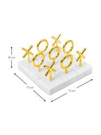 Designer-Brettspiel Tic Tac Toe aus Marmor, Sockel: Marmor, Spielsteine: Messing Sockel: Weiß, 17 x 10 cm