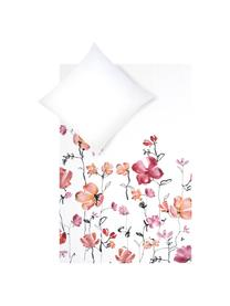 Povlečení z bavlněného saténu skvětinovým vzorem Fiori, Bílá, růžová, černá