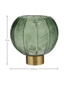 Vase Mickey mit Messingsockel, Vase: Glas, Sockel: Messing, Vase: Grün, transparentSockel: Messing, Ø 20 x H 21 cm