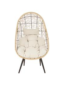 Fotel ogrodowy z tworzywa sztucznego Marley, Stelaż: aluminium, malowane prosz, Tapicerka: poliester, Beżowy, kremowy, czarny, S 87 x G 70 cm