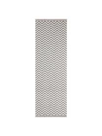 Dubbelzijdige in- & outdoor loper Palma, met zigzag patroon, 100% polypropyleen, Grijs, crèmekleurig, 80 x 350 cm