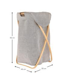 Kosz na pranie Maya, Stelaż: drewno bambusowe, Kosz na pranie: jasny szary Stelaż: beżowy, S 39 x W 66 cm