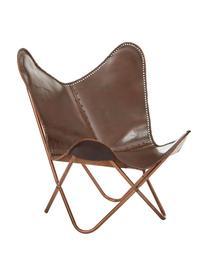 Leder-Sessel Butterfly, Bezug: Rindsleder, Gestell: Metall, lackiert, Braun, 80 x 87 cm