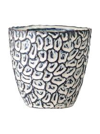 Handgefertigter Übertopf Bonia aus Steingut, Steingut, Weiß, Blau, Ø 14 x H 14 cm