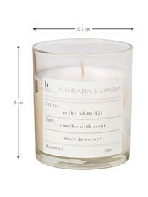Bougie parfumée Mandarin (mandarine, vanille), Verre: transparent Bougie parfumée: blanc