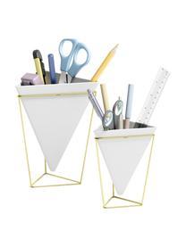 Set 2 vasi Trigg Desk, Portavasi: metallo ottonato, Vasi: bianco Portavasi: ottone, Set in varie misure