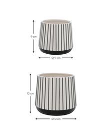 Set 2 portavasi a strisce in pietra Gebby, Pietra, Bianco, Set in varie misure