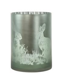 Komplet świeczników Mesto, 3 elem., Szklanka, Blady różowy, odcienie srebrnego, zielony, Ø 10 x W 13 cm
