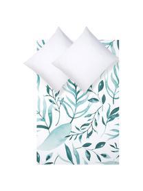 Perkal dekbedovertrek Francine, Weeftechniek: perkal Draaddichtheid 180, Bovenzijde: groen, wit. Onderzijde: wit, 240 x 220 cm