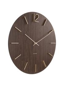 Orologio da parete XL Meek, Quadrante: Pannello di fibra a media, Puntatore: alluminio, rivestito, Marrone scuro, dorato, Ø 50 cm