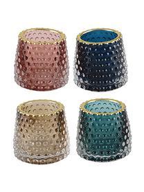 Set 4 portalumini Rimmon, Vetro, Multicolore, dorato, Ø 8 x Alt. 7 cm