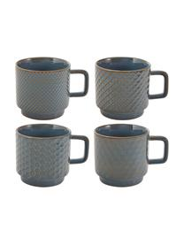 Set 4 tazze Lara, Terracotta, Blu grigio, marrone, Ø 8 x Alt. 8 cm