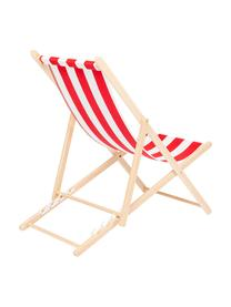 Transat rabattable Hot Summer, Rouge, blanc, bois de hêtre