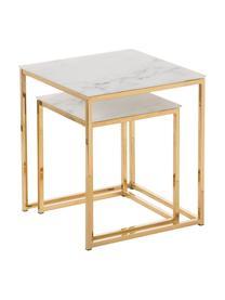 Bijzettafels Aruba met gemarmerde glazen tafelblad, 2-delig, Tafelblad: glas, Frame: gecoat metaal, Tafelblad bedrukt glas: mat wit, gemarmerd. Frame: goudkleurig, Set met verschillende formaten