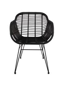 Sillas con reposabrazos Costa, 2uds., Asiento: polietileno, Estructura: metal con pintura en polv, Negro, patas negro, An 59 x F 58 cm