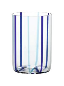 Mundgeblasene Wassergläser Tirache mit bunten Streifen, 6er-Set, Glas, Mehrfarbig, Ø 7 x H 10 cm