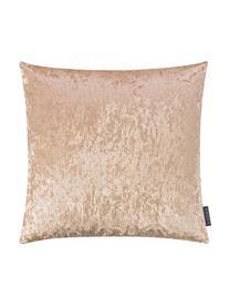 Samt-Kissenhülle Shanta mit schimmerndem Vintage-Muster, 100% Polyestersamt, Champagnerfarben, 50 x 50 cm