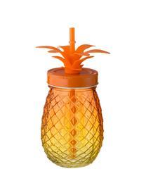 Set bicchieri con cannuccia  Pineapples, 3 pz., Coperchio: metallo, Rosa, arancione, giallo, Ø 9 x A 14 cm