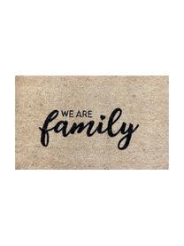 Fußmatte We Are Family, Oberseite: Kokosfaser, Unterseite: Vinyl, Beige, Schwarz, 45 x 75 cm