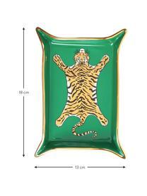 Designer-Schale Tiger, vergoldet, Porzellan, vergoldete Akzente, Innen: Grün, Gold, Beigetöne Außen: Weiß, B 18 x T 13 cm