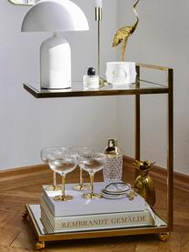 Wózek barowy Classy Gold, Stelaż: stal szlachetna , mosiądz, Stelaż: odcienie złotego Półki: szkło Koła: biały, S 50 x W 64 cm