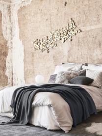 Dzianinowy koc z bawełny organicznej  Adalyn, 100% bawełna organiczna, certyfikat GOTS, Ciemnyszary, S 150 x D 200 cm