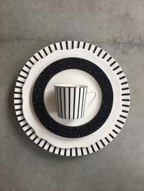 Set 4 tazzine con piattini Pluto Loft, Porcellana, Nero, bianco, dorato, Ø 8 x Alt. 8 cm