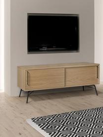 TV-Lowboard Ashburn mit Eichenholzfurnier und Schiebetüren, Korpus: Spanplatte, Eichenfurnier, Korpus: Eiche<br>Beine und Griffe: Schwarz, matt, 145 x 53 cm