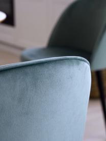 Sedia imbottita in velluto Amy 2 pz, Rivestimento: velluto (100% poliestere), Gambe: metallo verniciato a polv, Turchese, Larg. 51 x Prof. 55 cm