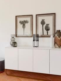 Komoda z drzwiczkami Sanford, Korpus: płyta pilśniowa średniej , Korpus: biały, matowy Podstawa: odcienie złotego, matowy, S 160 x W 83 cm