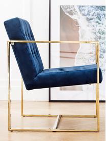 Samt-Loungesessel Manhattan in Blau, Bezug: Samt (Polyester) Der hoch, Gestell: Metall, beschichtet, Samt Dunkelblau, B 70 x T 72 cm