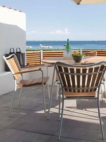 Runder Gartentisch Hard & Ellen mit Teakholzplatte, Tischplatte: Teakholz, geschliffen, Teak, Weiß, Ø 110 x H 73 cm