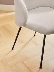Krzesło tapicerowane Luisa, 2 szt., Tapicerka: 100% poliester Dzięki tka, Nogi: metal malowany proszkowo, Beżowy, czarny, S 59 x G 58 cm