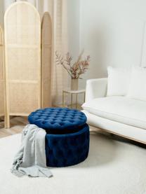 XL Samt-Hocker Chiara mit Stauraum, Bezug: Samt (Polyester) 20.000 S, Korpus: Eukalyptusholz, Blau, Ø 70 x H 42 cm