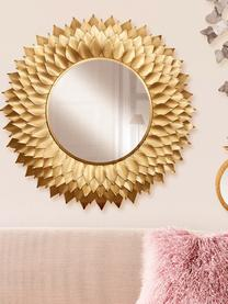 Runder Wandspiegel Petal mit Goldrahmen, Rahmen: Metall, Spiegelfläche: Spiegelglas, Messingfarben, Ø 95 cm